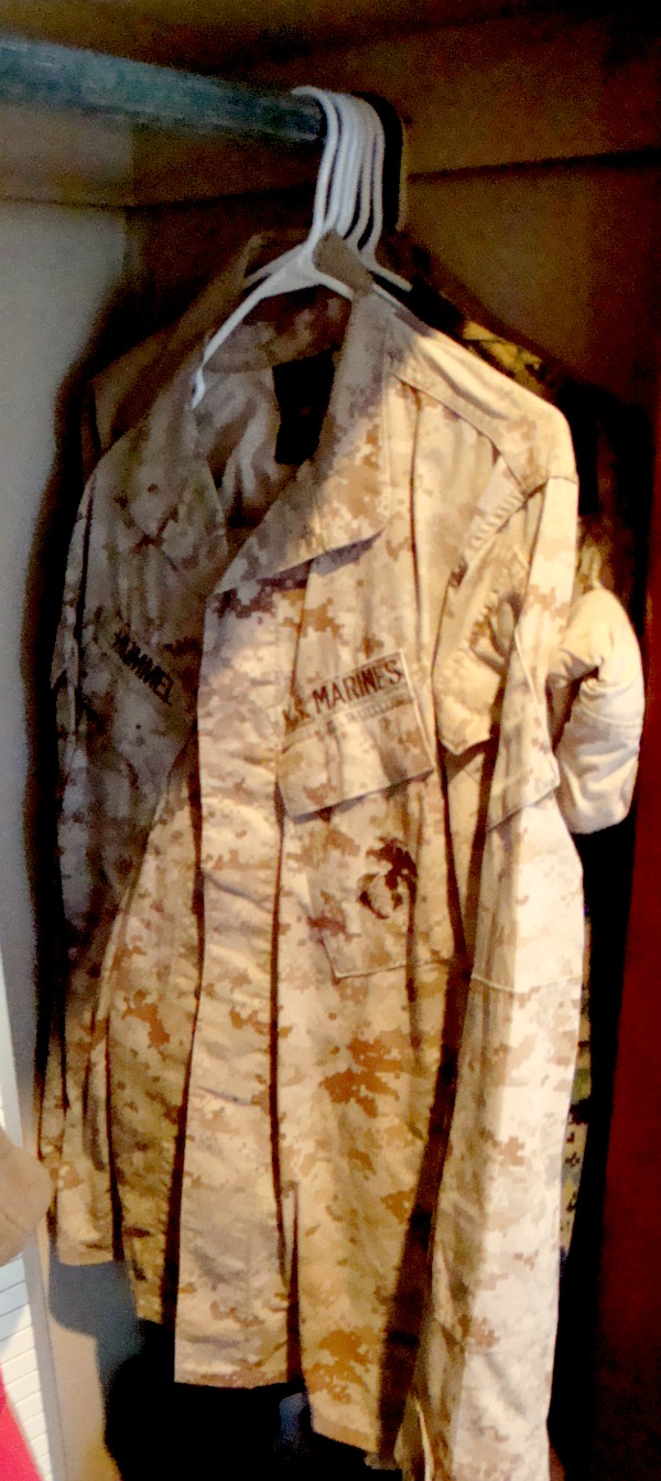 "desert ""cammies"" in the closet - proud to have them, but excited to pack these away !"