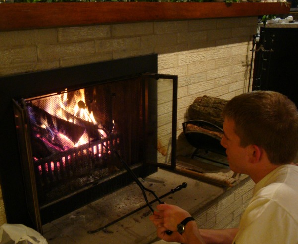 Jack roasting a Peep in the fireplace.
