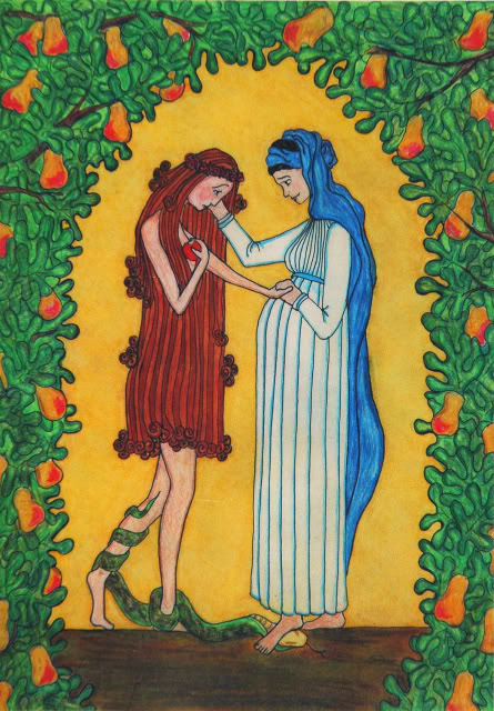 {Mary consoles Eve} by  Sr. Grace Remington, OCSO